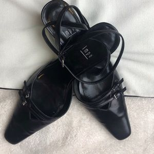 Impo • Black Leather Ankle Strap Kitten Heel Shoes